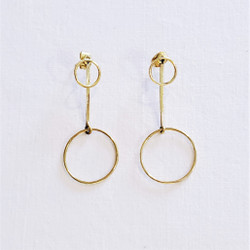 Fair trade brass circle post earrings from india