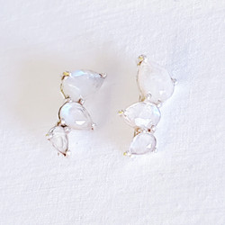 fair trade sterling silver and moonstone ear climber dangle earring from India