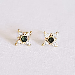 Fair trade brass tourmaline and faceted crystal post earrings from India