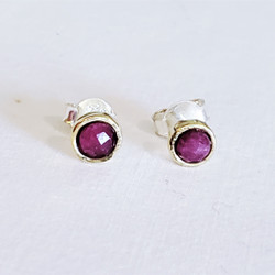 fair trade faceted ruby zoisite stud post earring from India