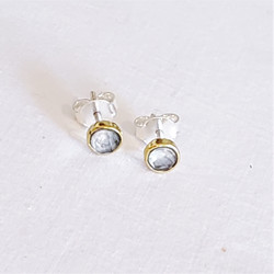 fair trade faceted moonstone stud post earring from India