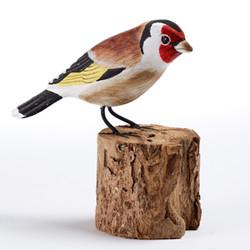 Fair trade painted albezia wood goldfinch bird sculpture from Bali