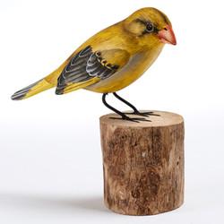 Fair trade painted albezia wood greenfinch bird sculpture from Bali