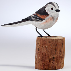 Fair trade painted albezia wood long tailed tit bird sculpture from Bali