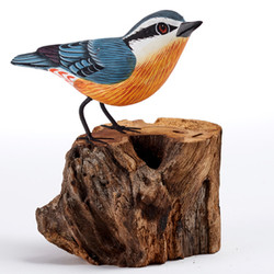 Fair trade painted albezia wood nuthatch bird sculpture from Bali
