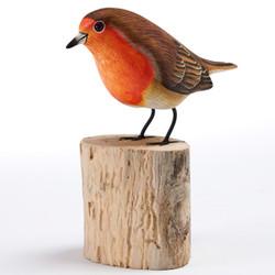 Fair trade painted albezia wood robin bird sculpture from Bali