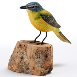 Fair trade painted albezia wood yellow wagtail bird sculpture from Bali