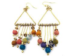 fair trade upcycled sari bead dangle earrings from India
