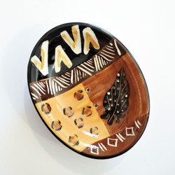 Fair trade animal print ceramic soap dish from South Africa