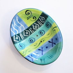 Fair trade blue and green ceramic soap dish from South Africa