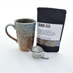 Dumb ass fair trade organic loose leaf tea with ceramic mug from Japan and steeper.
