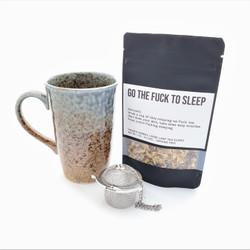 Go the Fuck to Sleep fair trade organic loose leaf tea with ceramic mug from Japan and tea steeper