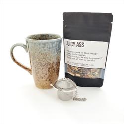 Juicy Ass fair trade organic loose leaf tea with ceramic mug from Japan and tea steeper