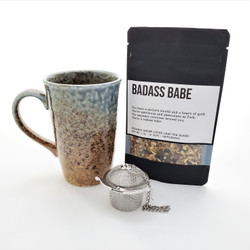 Badass Babe fair trade organic loose leaf tea with ceramic mug from Japan and tea steeper