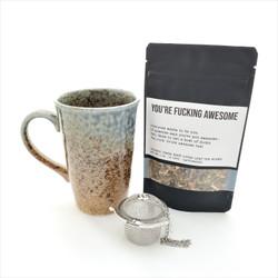 You're Fucking Awesome fair trade organic loose leaf tea with ceramic mug from Japan and tea steeper