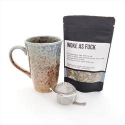 Woke as Fuck fair trade organic loose leaf tea with ceramic mug from Japan and tea steeper