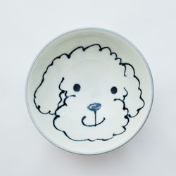 Fair trade painted bowl with poodle from Japan