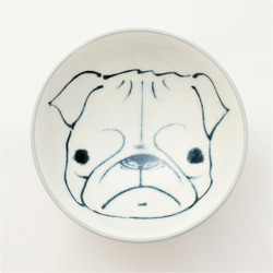 Fair trade painted bowl with pug from Japan