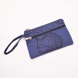 Fair trade woven cotton zip top block printed wristlet from Nepal