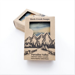 Hand made paradise valley peach, tonka bean, and lavendar soap from United States that fights human trafficking