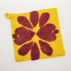 Fair trade felted wool square trivet / potholder from Nepal