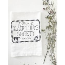 Black thumb society screen printed 100% cotton kitchen dish towel made in USA