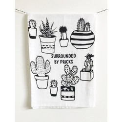 Surrounded by Pricks screen printed 100% cotton kitchen dish towel made in USA