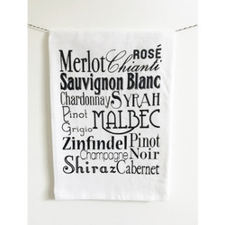 Wine words screen printed 100% cotton kitchen dish towel made in USA