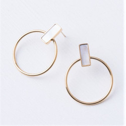 Fair trade gold plated post earrings with mother of pearl from East Asia