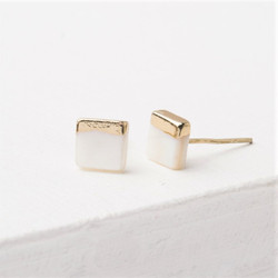 Fair trade mother of pearl gold plated post earrings from East Asia