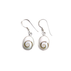 Fair trade shiva shell and silver earrings from Thailand