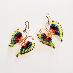 Fair trade knotted cord macrame butterfly earrings from Thailand