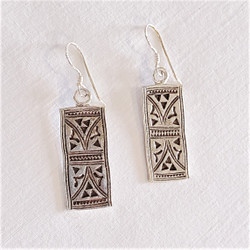 Fair trade sterling silver Hill Tribe stamped spirit earrings from Thailand