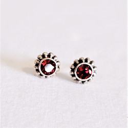 Fair trade sterling silver and faceted garnet stud post earrings from Nepal