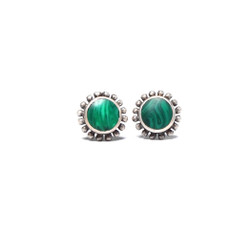 Fair trade sterling silver and malachite stone stud post earrings from Nepal