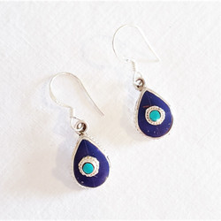 Fair trade lapis and turquoise tibetan sterling silver dangle earring from Nepal