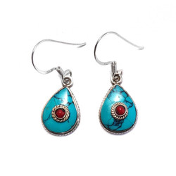 Fair trade turquoise and coral tibetan sterling silver dangle earring from Nepal