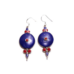 Fair trade lapis and coral tibetan sterling silver dangle earring from Nepal