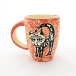 Fair trade Day of the Dead Kitty Calavera Hand Painted Talavera Mug from Mexico