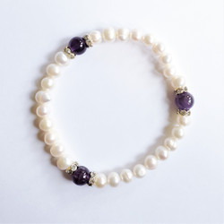 Fair trade pearl, gemstone, and crystal stretch bracelet from China