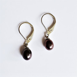 Fair trade natural midnight pearl drop earrings from China