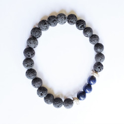 Fair trade lava stone and lapis stretch stacking bracelet from China