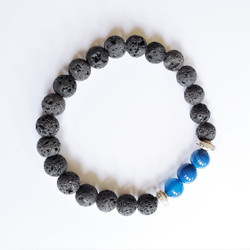 Fair trade lava stone and blue agate stretch stacking bracelet from China