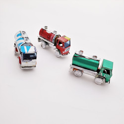 Fair trade mini recycled tin can tanker truck from Madagascar