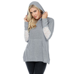 Fair trade grey ribbed hooded pull over with lace inset from Nepal