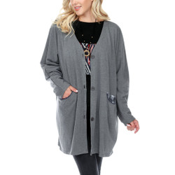 Fair trade grey oversized button close cardigan from Nepal