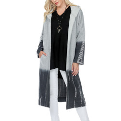 Fair trade gray long hooded cardigan with tie dye ombre from Nepal