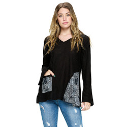Fair trade abstract print panel top with flounce sleeve from Nepal