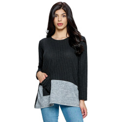 Fair trade black and grey color block one pocket top from Nepal