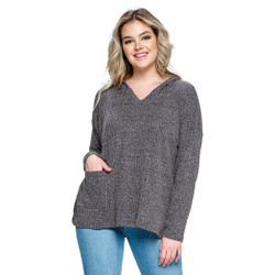 Fair trade one pocket ribbed charcoal hoodie from Nepal